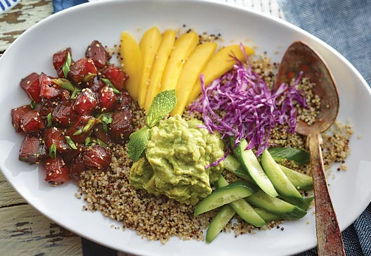tuna-poke-bowl-with-mangos-and-guacamole