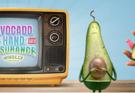 Eat Wholly hand insurance top image with tv and avocado