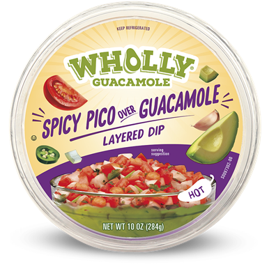 Eat Wholly spicy pico over guacamole layered dip hot